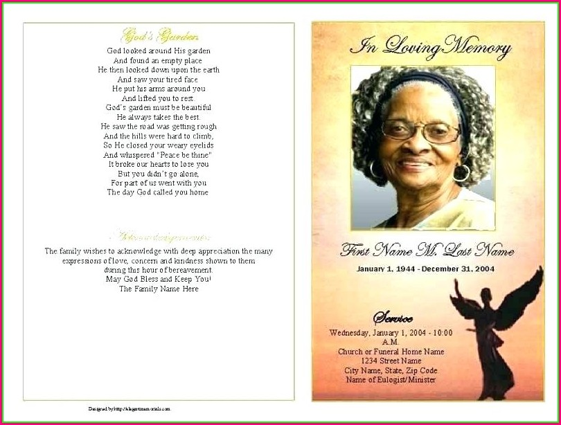 Layout Free Editable Funeral Program Template