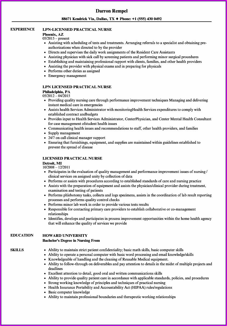Licensed Practical Nurse Resume Template Samples