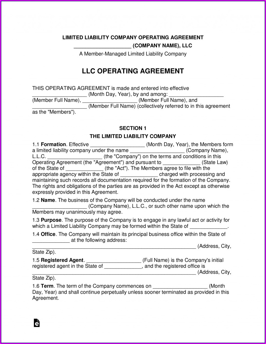 Limited Liability Agreement Template