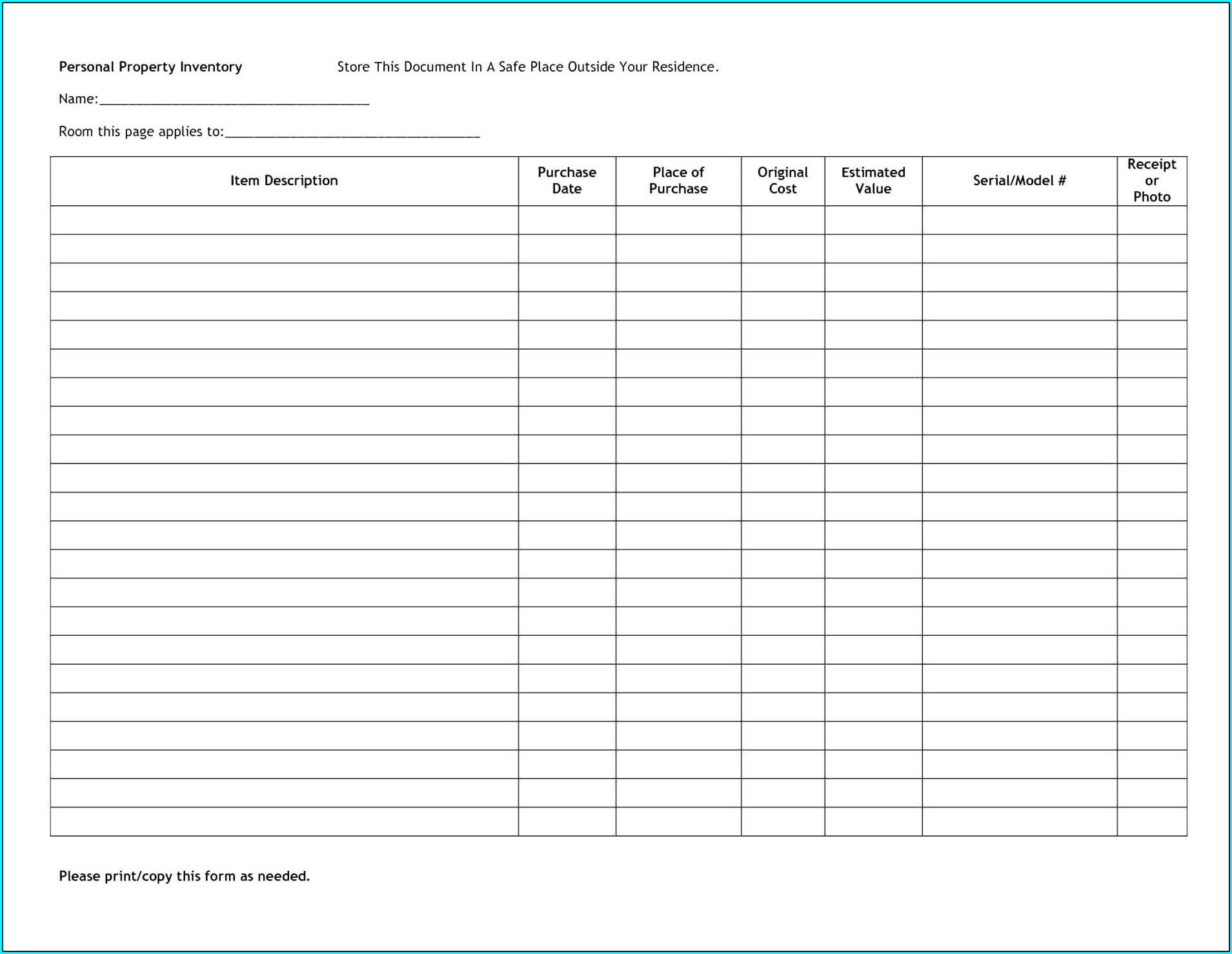 Liquor Inventory Bar Inventory Template