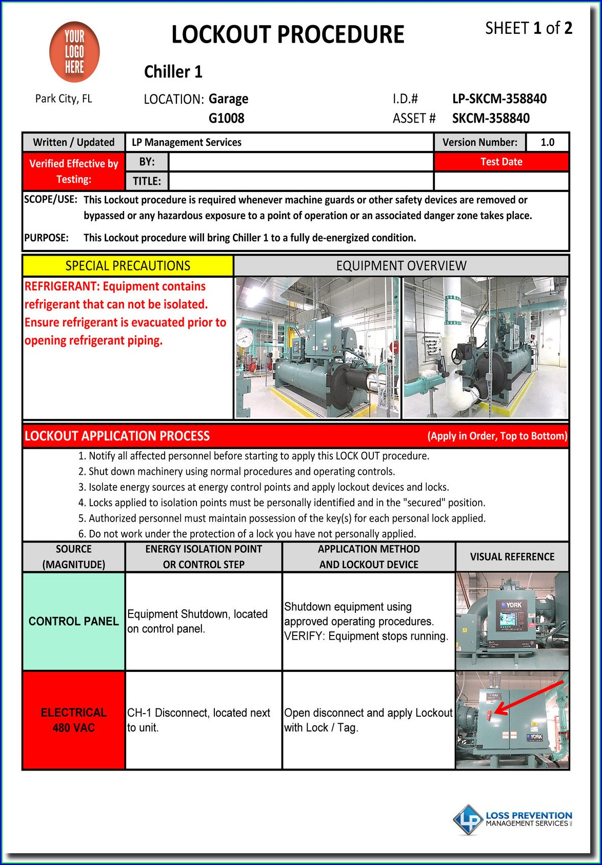Machine Specific Lockout Tagout Procedure Template
