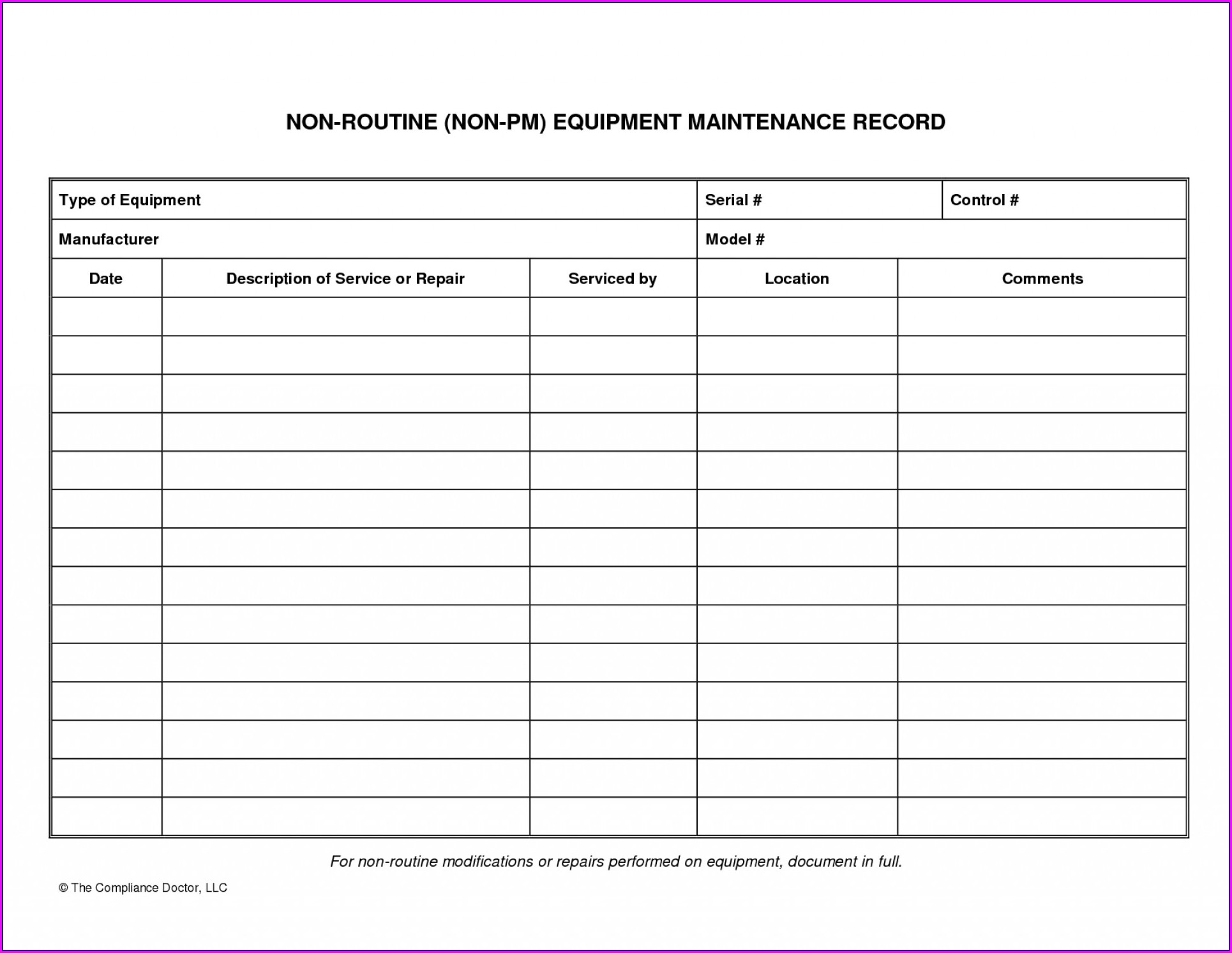 Maintenance Log Book Template