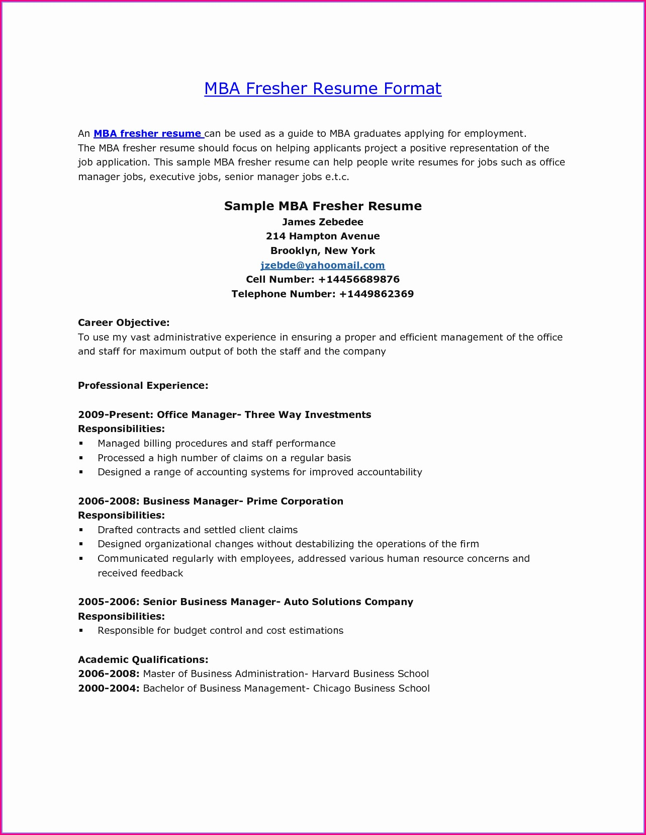 Mba Resume Format For Freshers In Hr