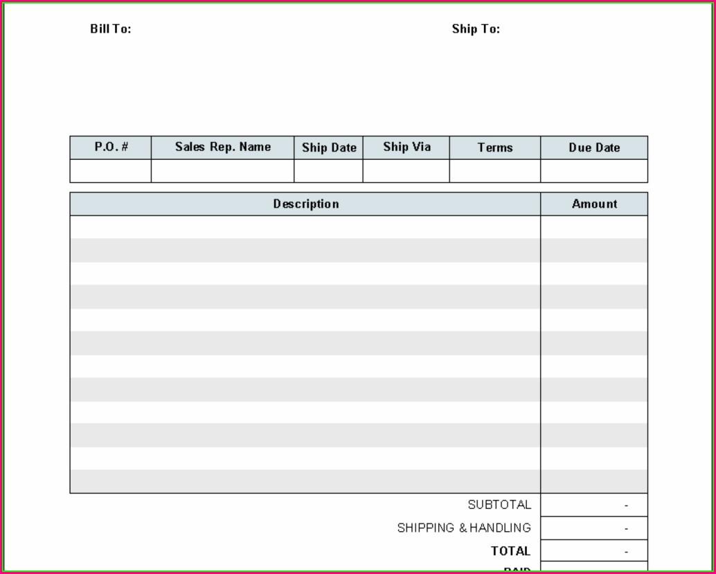 Mechanic Shop Invoice Templates