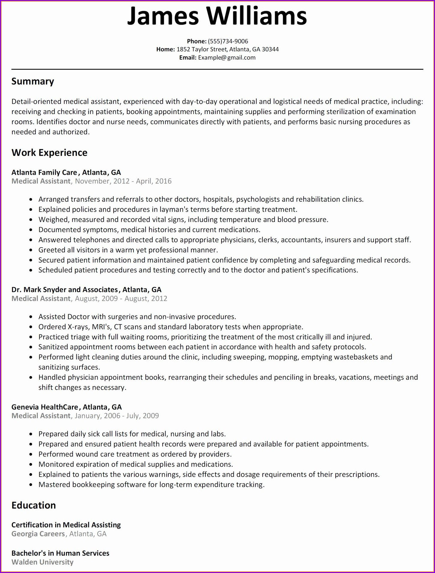 Medical Assistant Resume Samples For Students