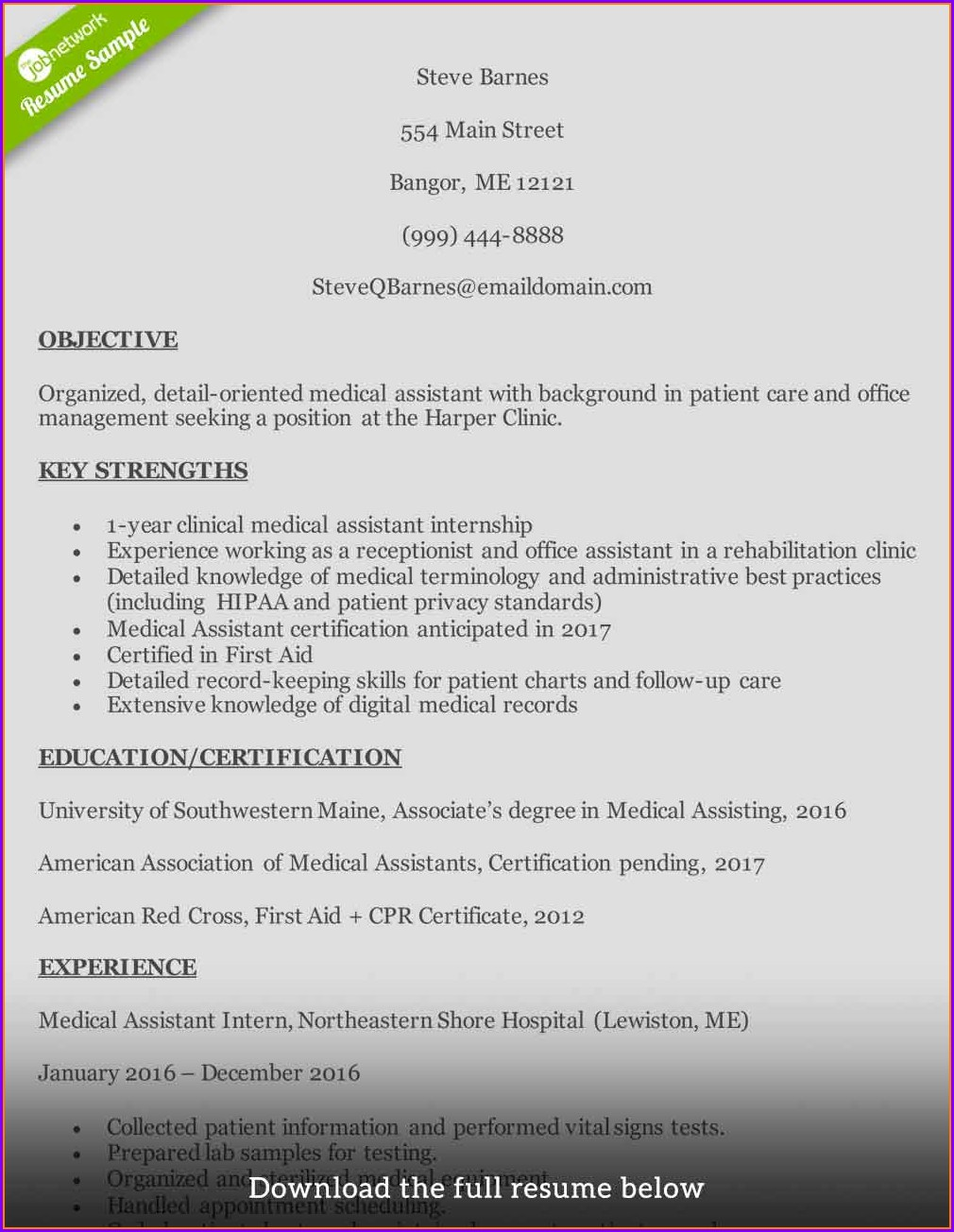 Medical Assistant Resumes Samples