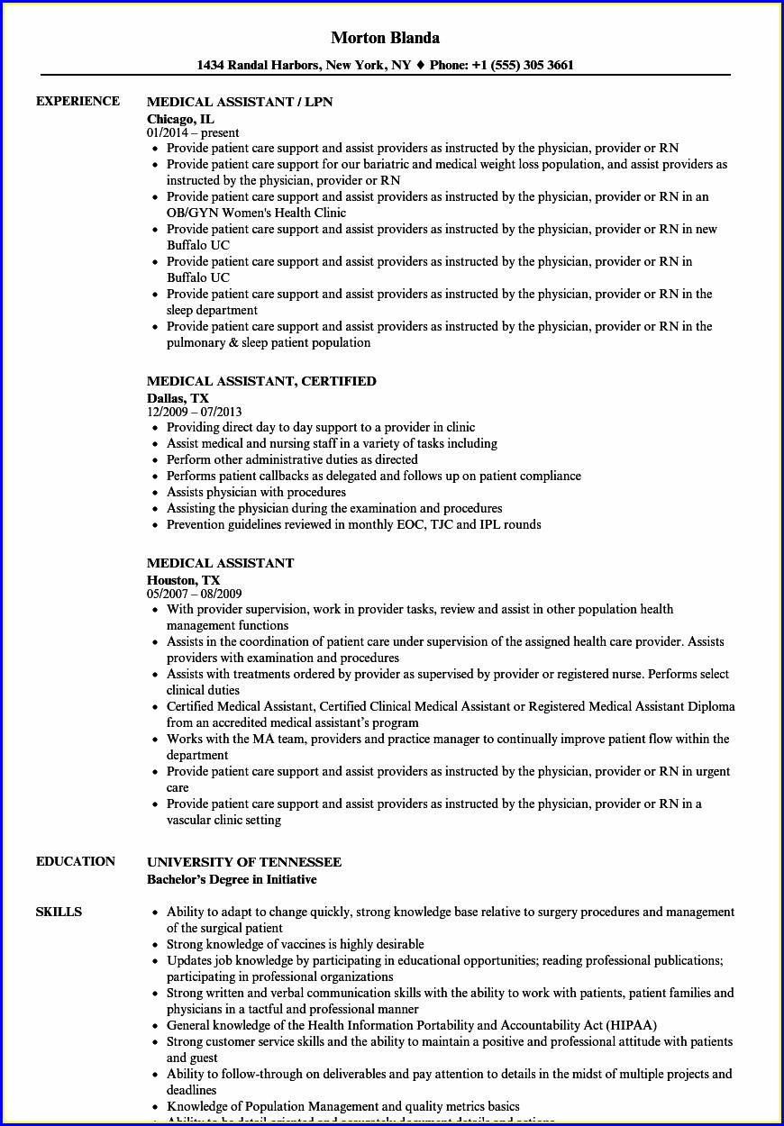 Medical Assisting Samples Of Medical Assistant Resumes