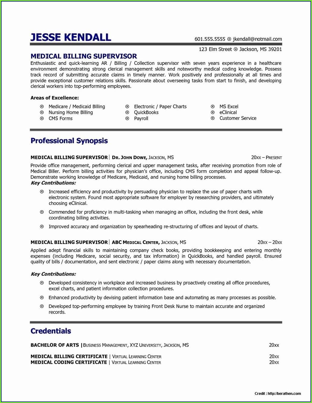 Medical Billing And Coding Internship Resume Samples