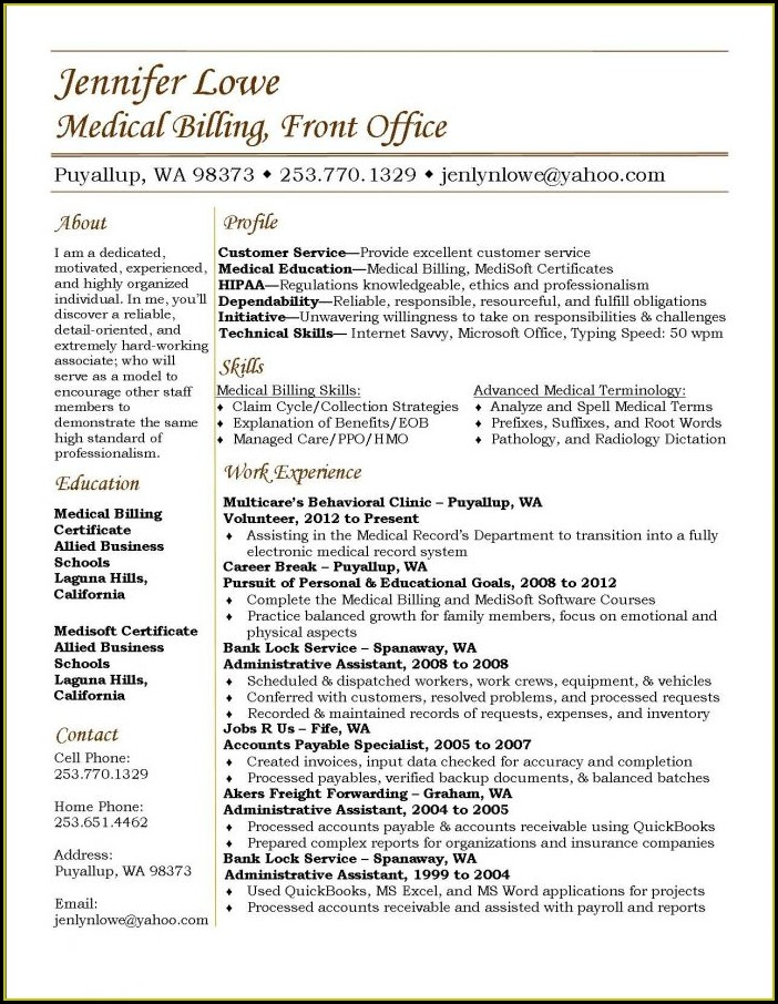 Medical Billing Coding Resume Sample