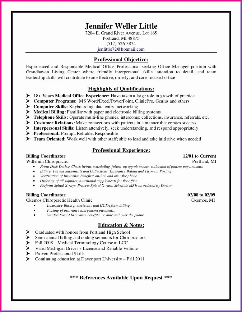 Medical Billing Specialist Job Description For Resume