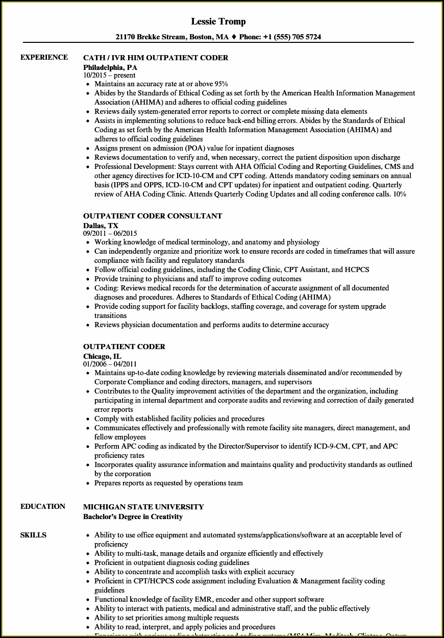 Medical Coding Fresher Resume Samples
