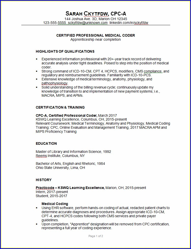 Medical Coding Resume Example For Freshers