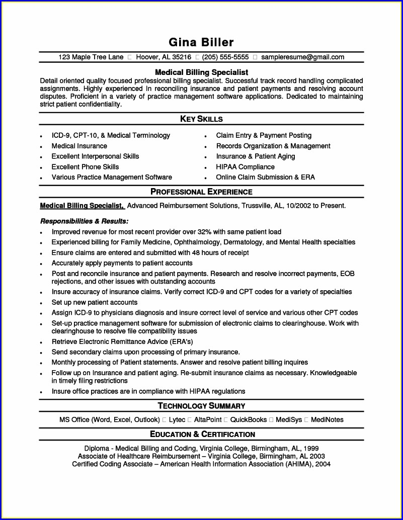 Medical Coding Sample Resume For Medical Coder