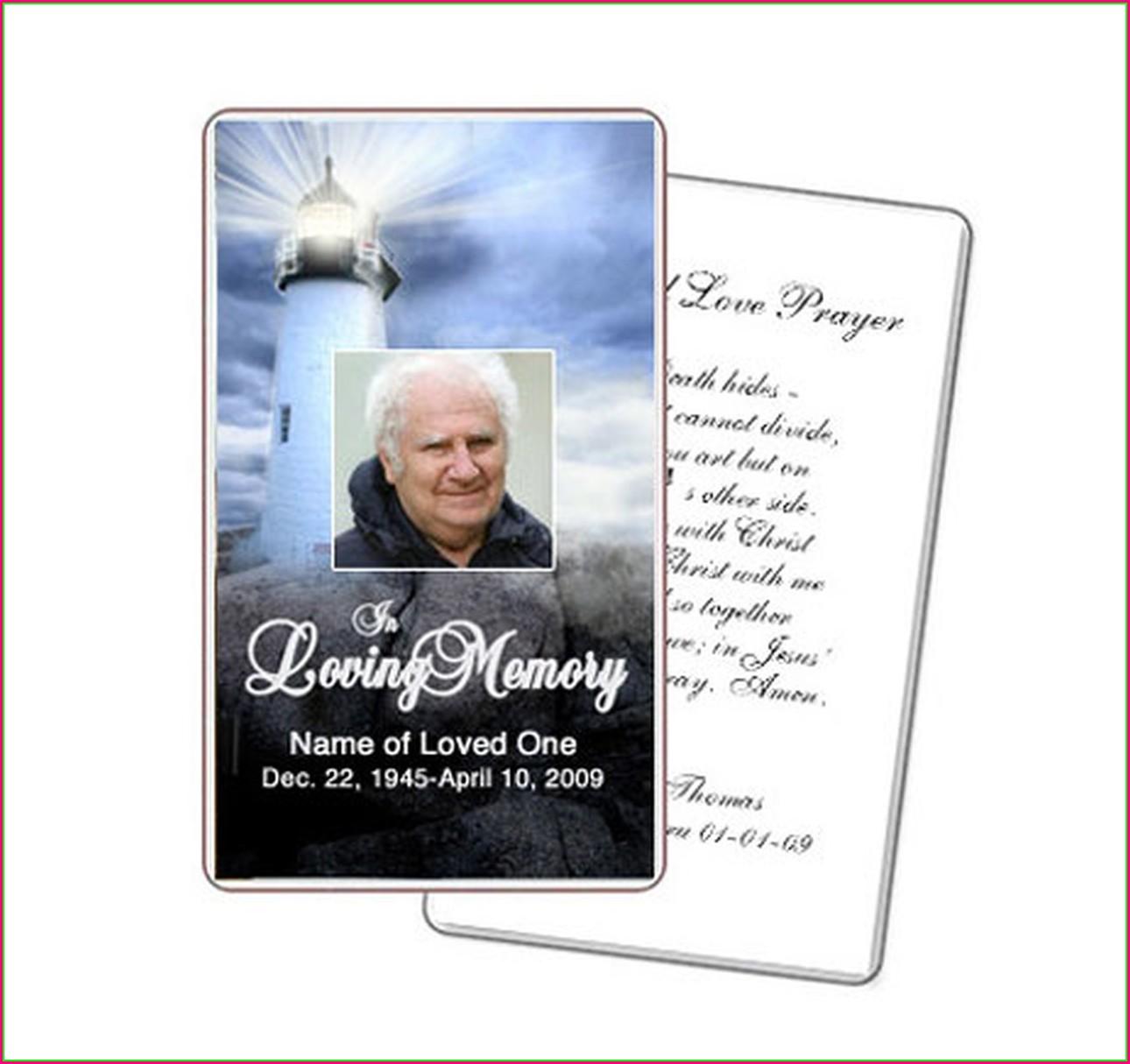 Memorial Prayer Cards Template