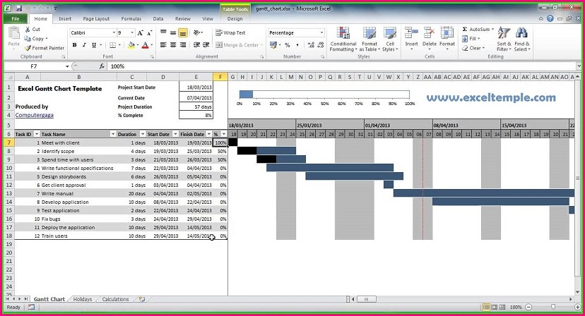 Microsoft Project Gantt Chart Template