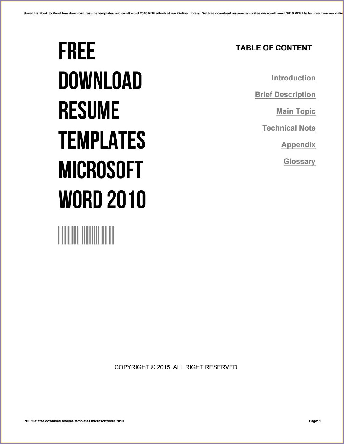 Microsoft Word 2010 Free Resume Templates