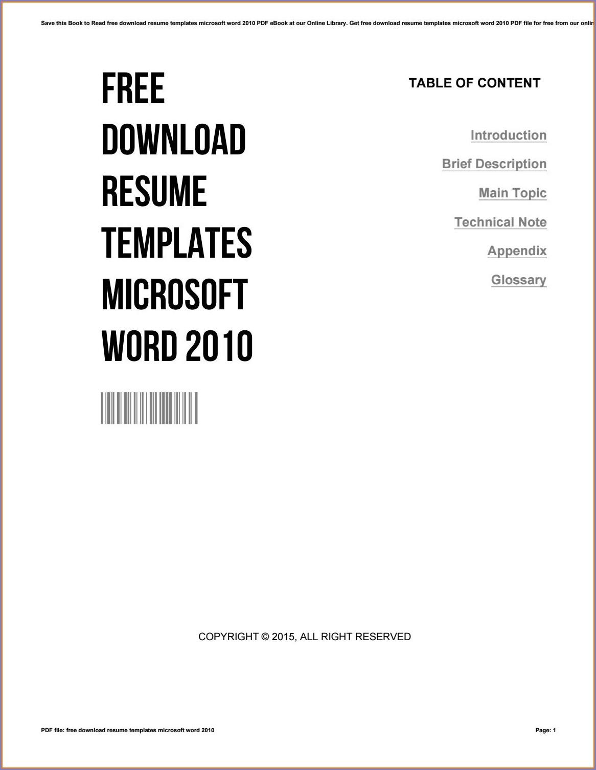 Microsoft Word 2010 Free Resume Templates