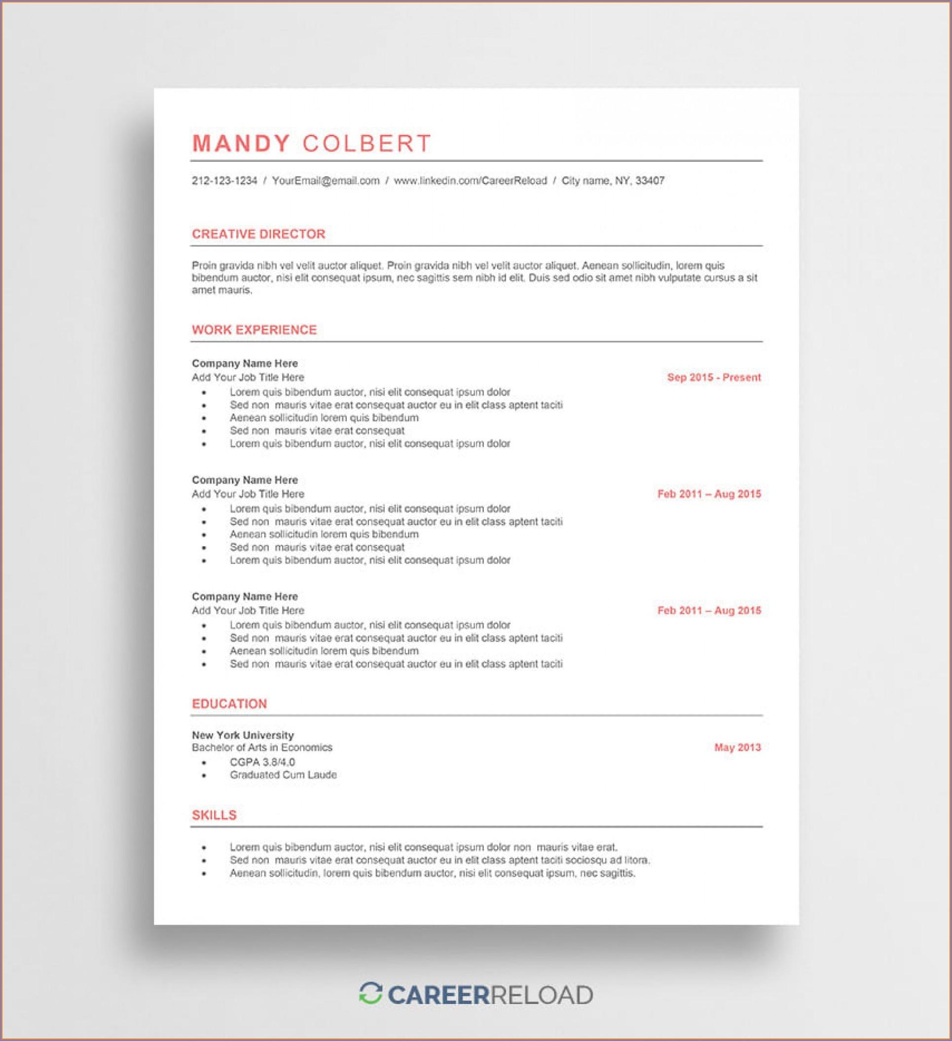 Microsoft Word Free Resume Templates 2018