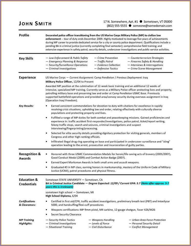 Military To Civilian Resume Builder