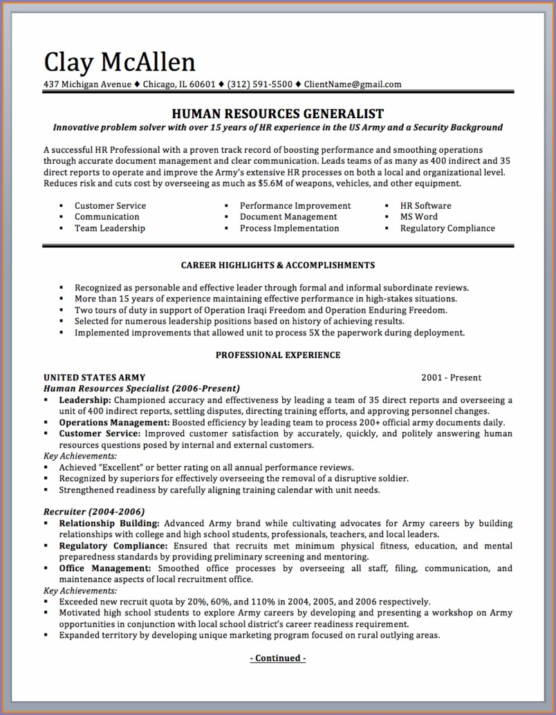 Military To Civilian Resume Sample