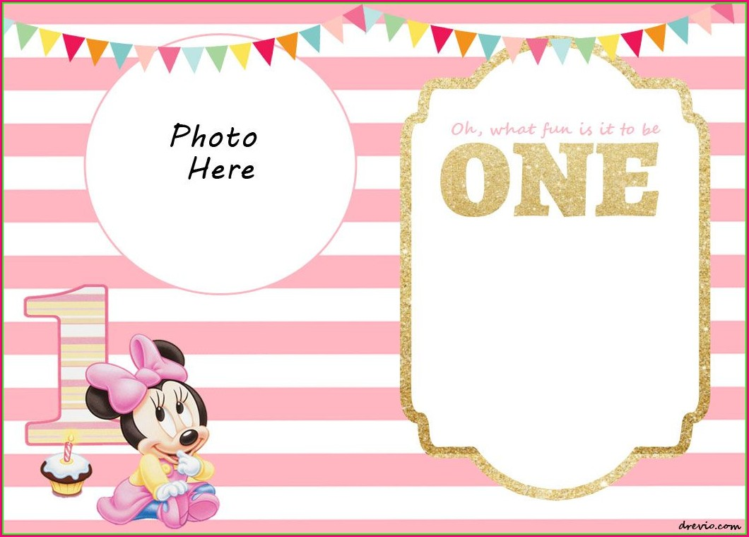 Minnie Mouse 1st Birthday Invitation Templates Free