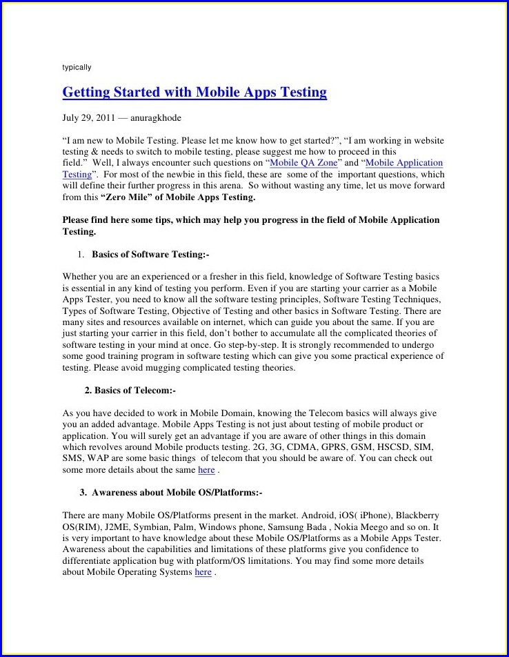 Mobile Apps Manual Testing Resume