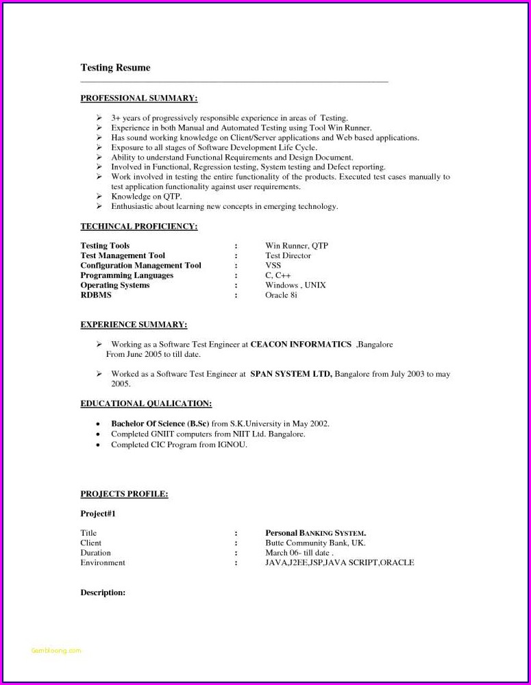 Mobile Testing Sample Resume