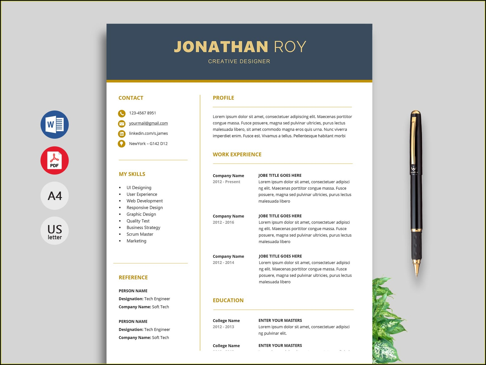 Modern Resume Templates Word Free Download