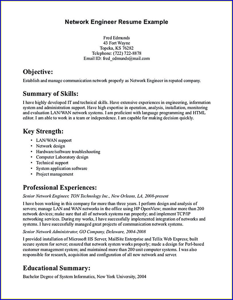 Network Security Resume Sample