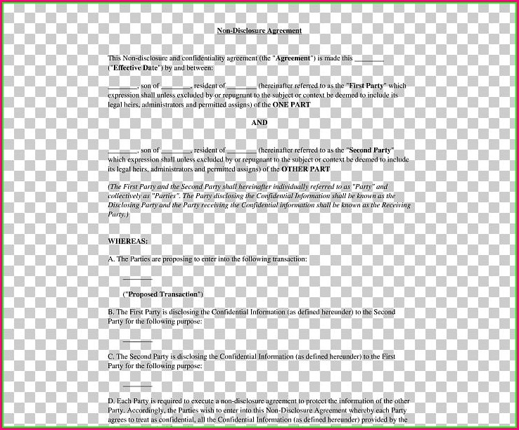 Non Disclosure Document Template