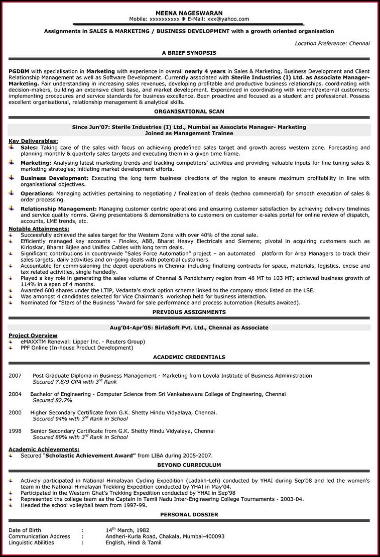 Nurse Resume Sample Free Download