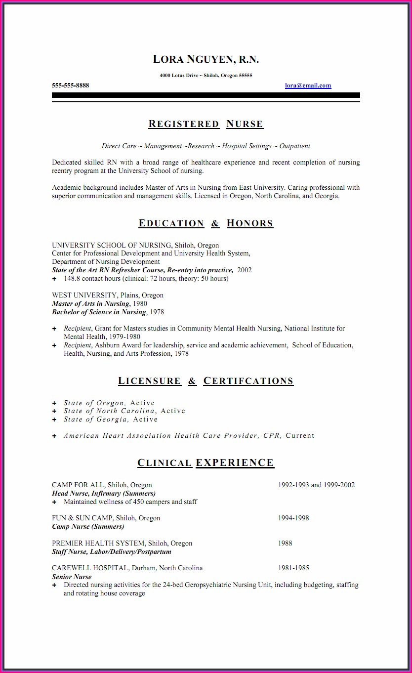 Nursing Resume Templates Free