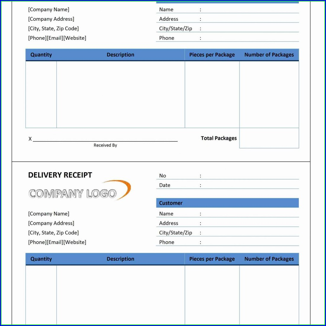 Official Receipt Template Free Download