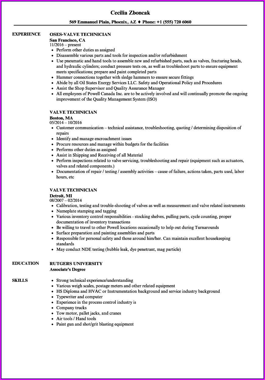 Oil And Gas Technician Resume Sample