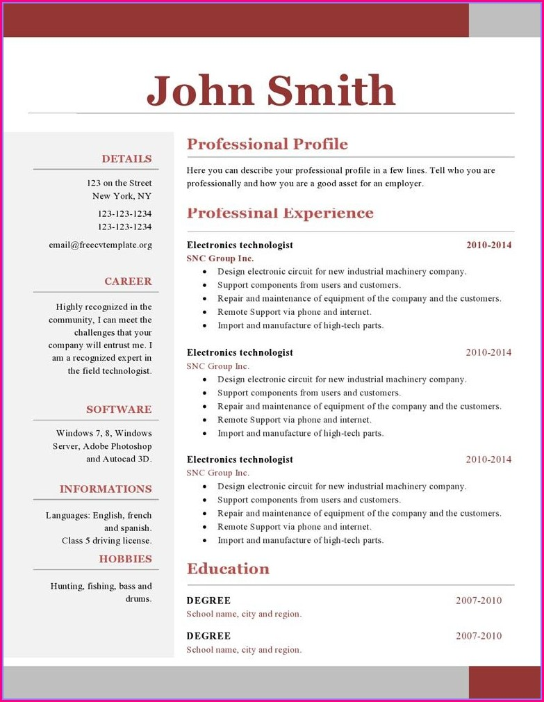 One Page Resume Format Doc Free Download