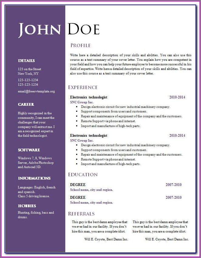 Online Resume Templates For Word