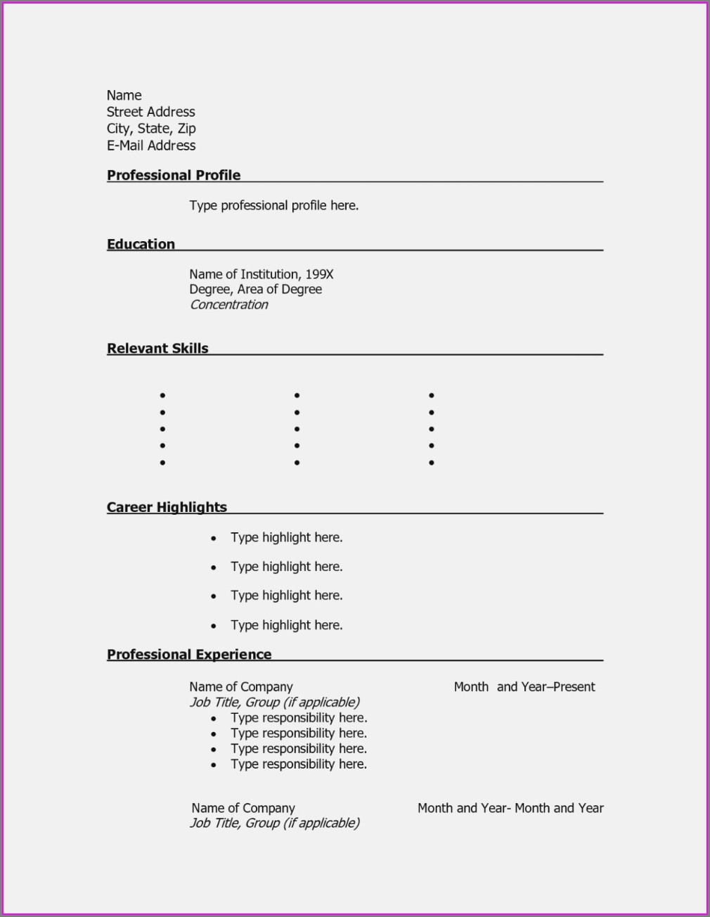 Online Resume Templates Microsoft Word