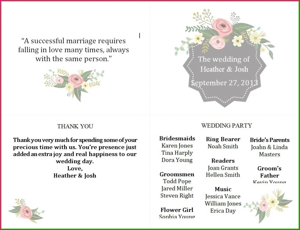 Online Wedding Program Template