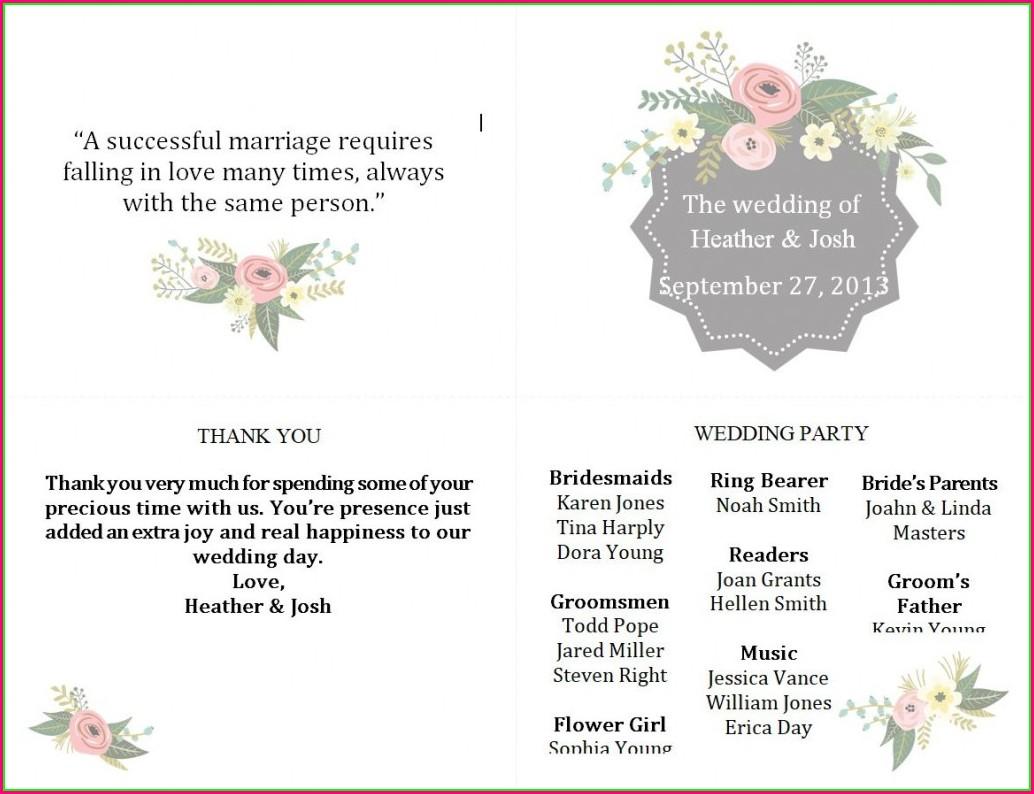 Online Wedding Program Template