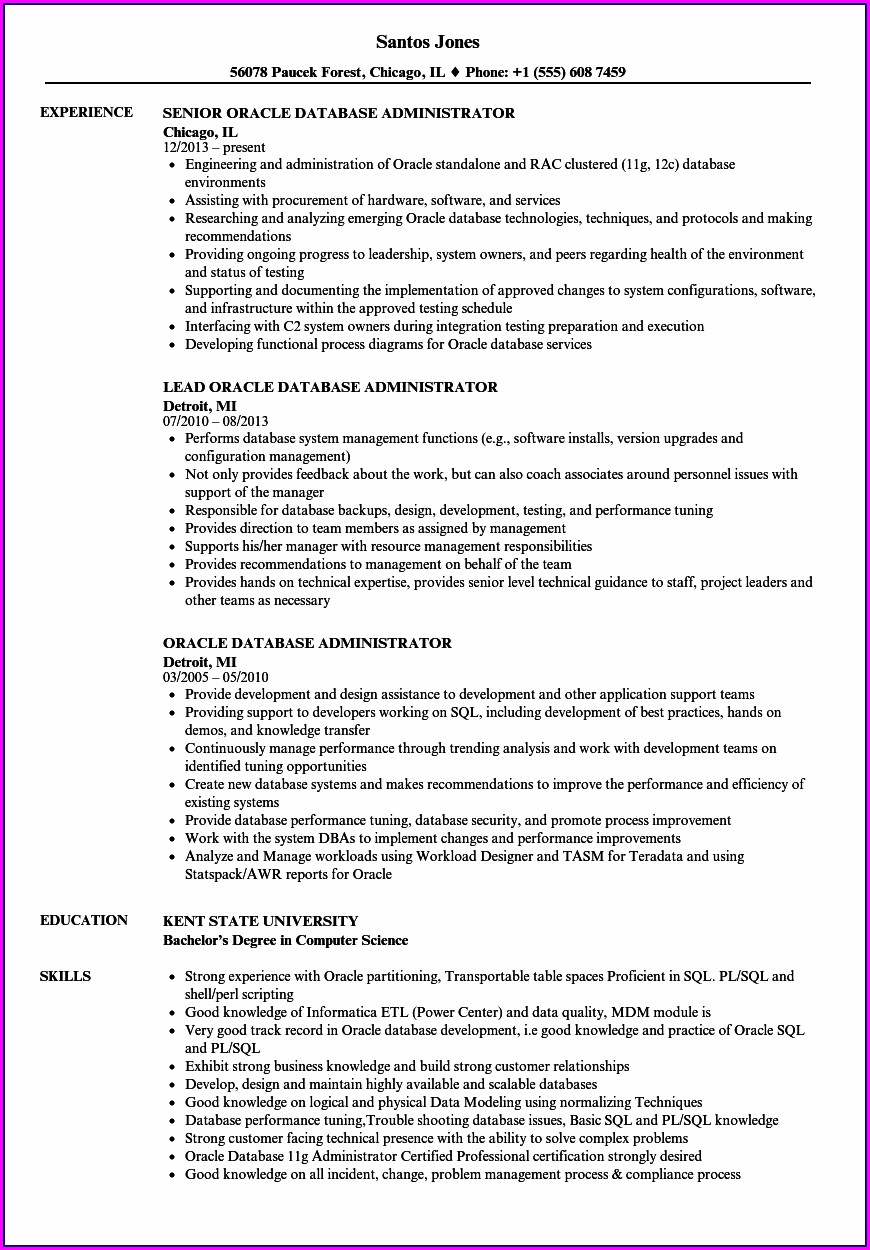 Oracle Dba Resume Format For Experienced