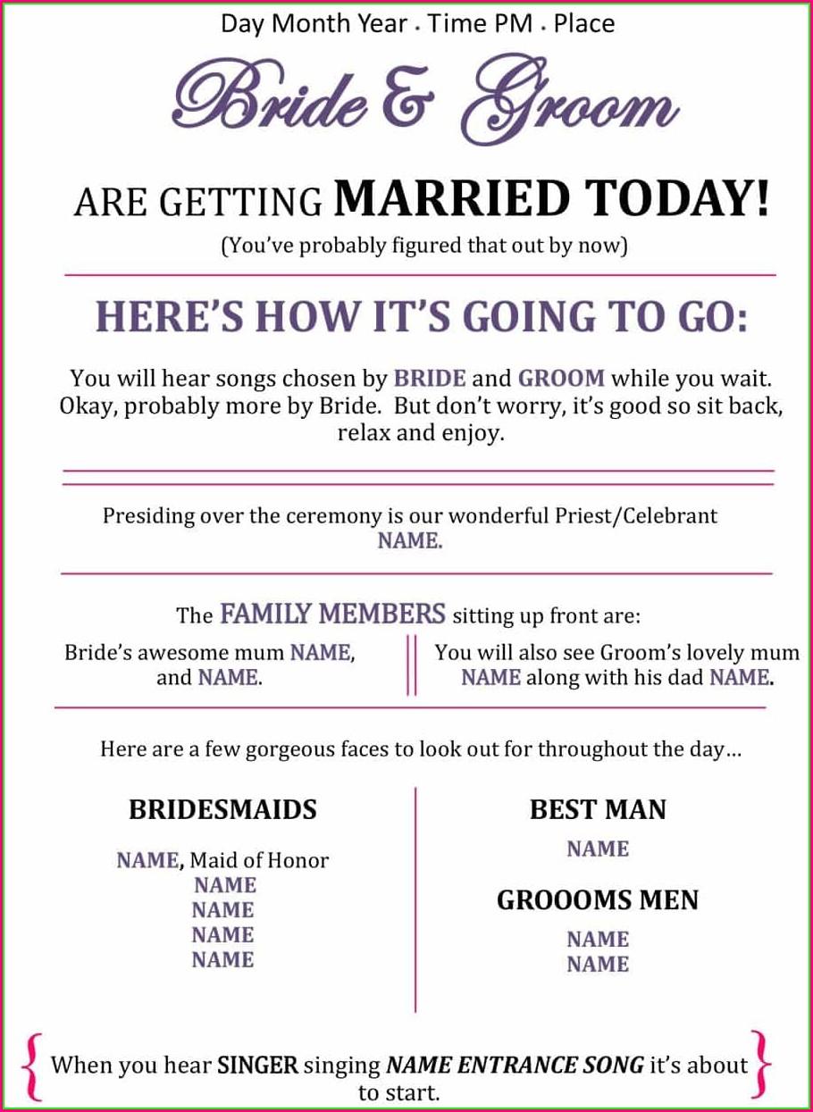 Outline Wedding Reception Program Template Free