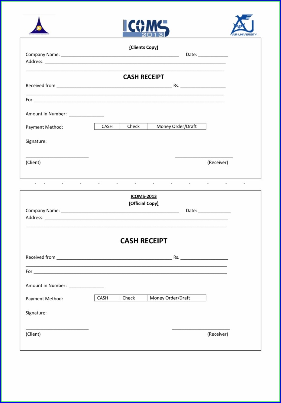 Payment Receipt Downloadable Receipt Template Word