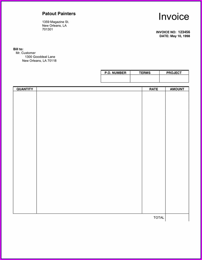 Pdf Blank Invoice Template