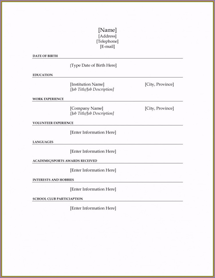 Pdf Fill In The Blank Resume Worksheet