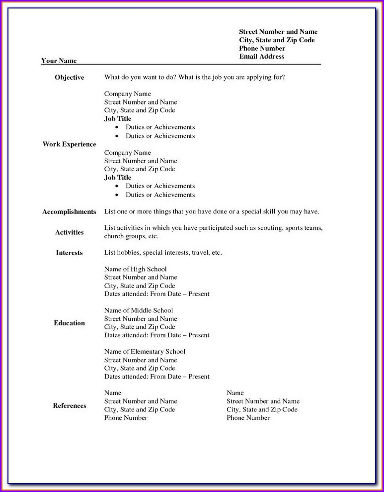 Pdf Printable Blank Resume Form