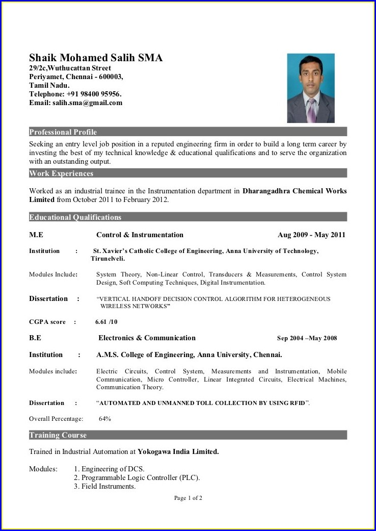 Pdf Resume Format For Freshers Mechanical Engineers