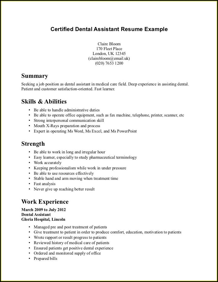Pediatric Dental Assistant Resume Samples