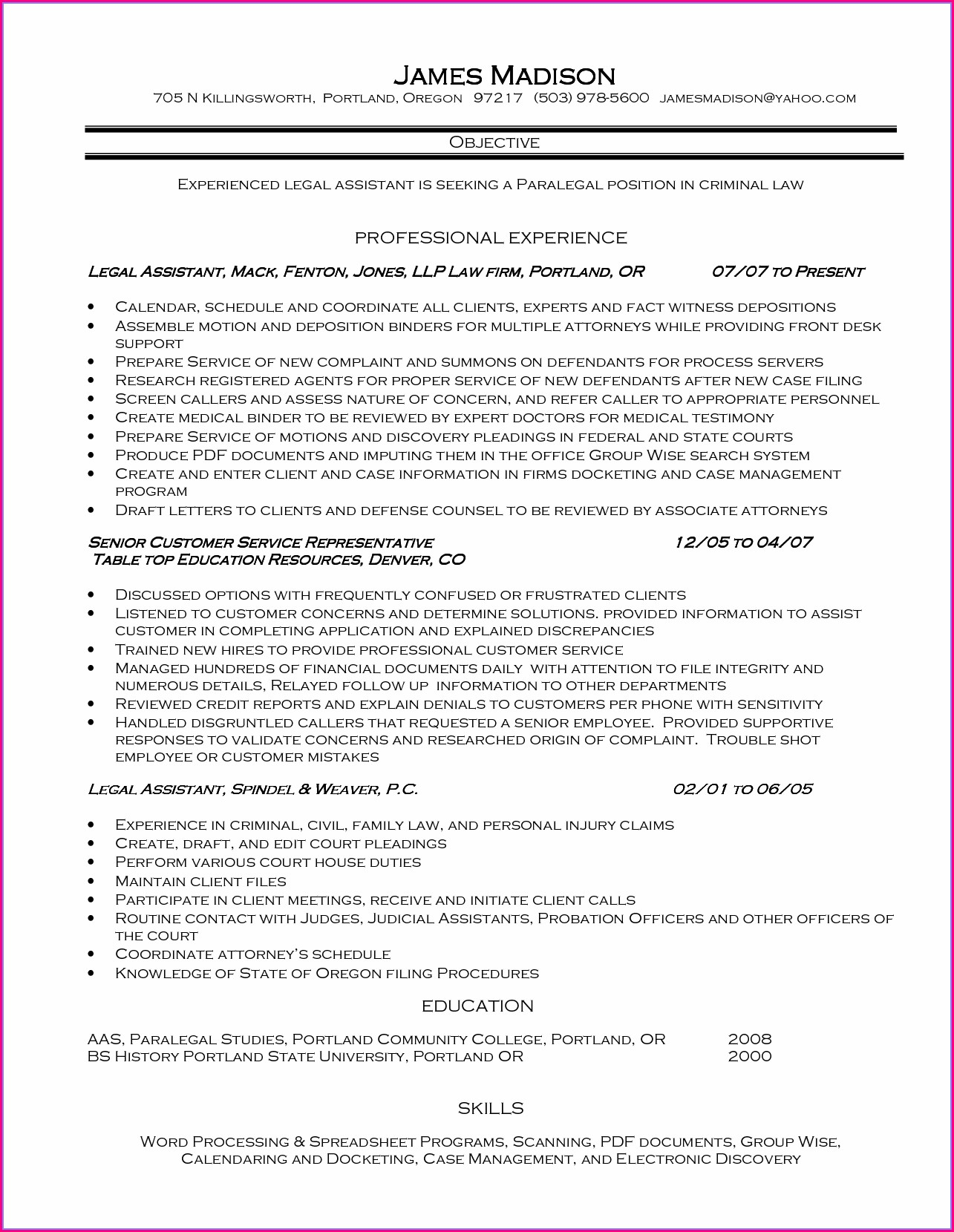 Personal Injury Legal Assistant Duties For Resume