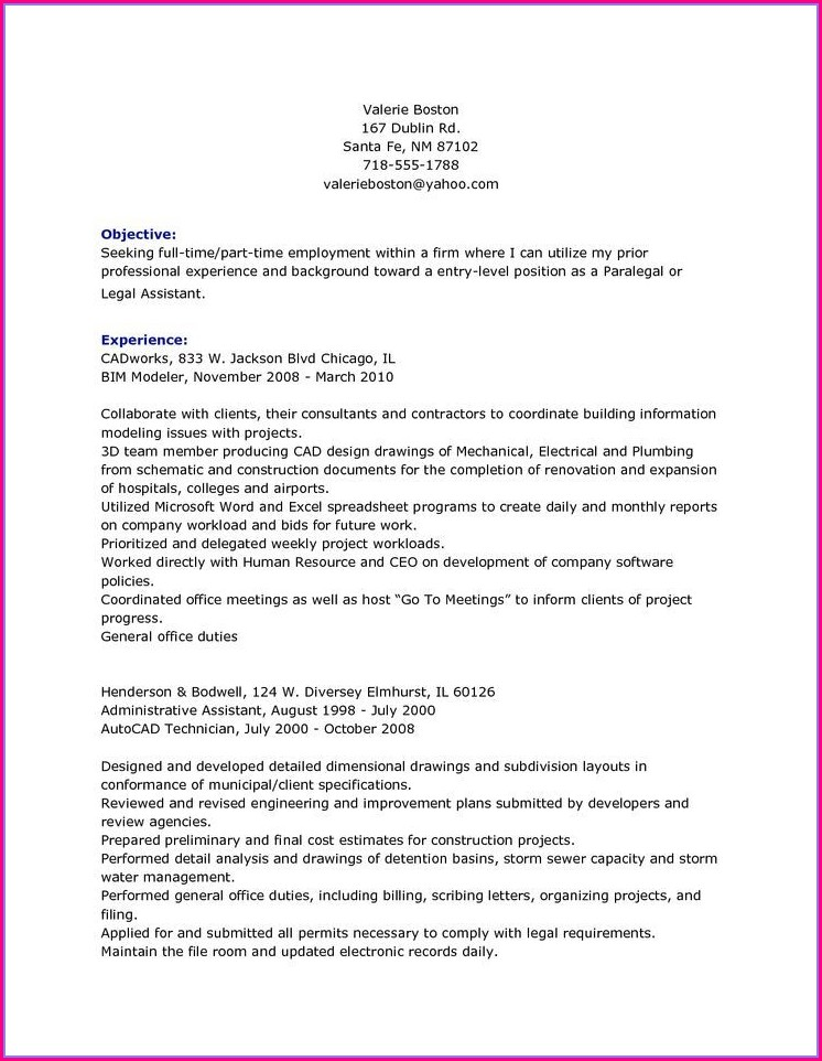 Personal Injury Legal Assistant Resume