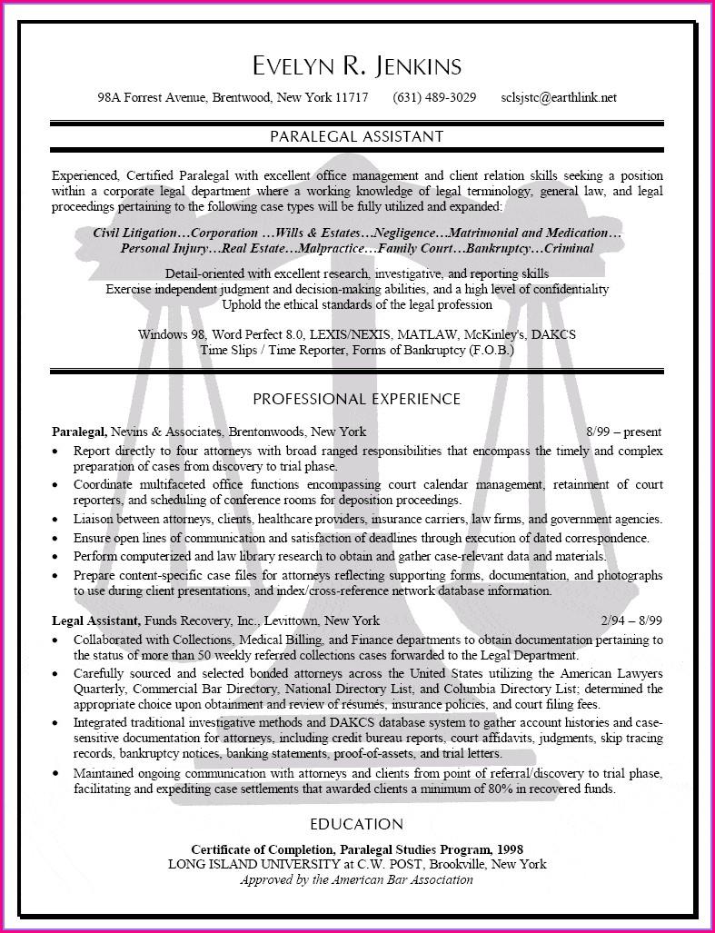 Personal Injury Legal Secretary Resume